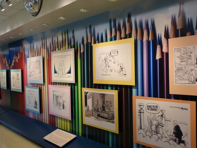 Danny Thomas' wall of cartoon tributes
