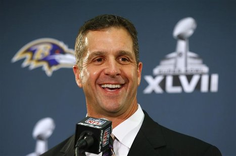 Baltimore Ravens head coach John Harbaugh speaks during a news conference after the team's arrival for the NFL's Super Bowl XLVII in New Orl