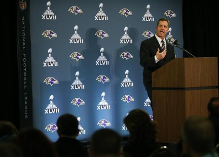 Baltimore Ravens head coach John Harbaugh speaks during a press conference after the team's arrival for the NFL's Super Bowl XLVII in New Or