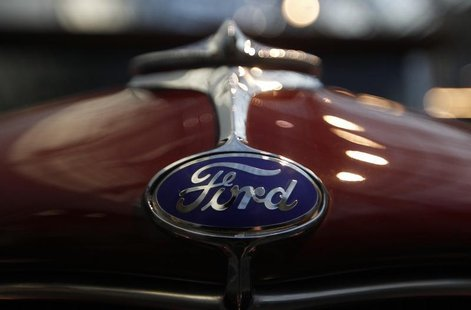 A logo of a Ford car is pictured during a press presentation prior to the Essen Motor Show in Essen November 30, 2012. REUTERS/Ina Fassbende