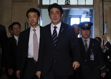 Japan's Prime Minister Shinzo Abe walks to an ordinary session at the lower house of parliament in Tokyo January 28, 2013. REUTERS/Toru Hana