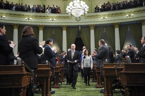 "Governor Edmund G. ""Jerry"" Brown arrives at the State of the State Address in Sacramento, California, January 24, 2013. REUTERS/Justin Short"