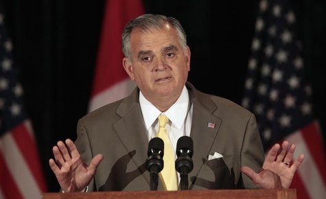 U.S. Secretary of Transportation Ray LaHood talks about an agreement to build a new public bridge between Detroit, Michigan and Windsor, Can