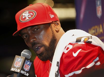 San Francisco 49ers wide receiver Randy Moss speaks during Media Day for the NFL's Super Bowl XLVII in New Orleans, Louisiana January 29, 20