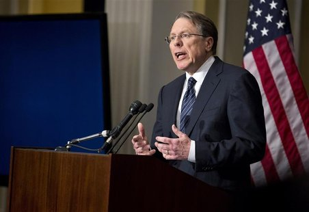 Wayne LaPierre, executive vice president of the National Rifle Association (NRA), speaks during a news conference in Washington December 21,