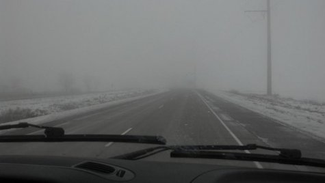 Fog envelops our crew as they return to the Green Bay area. (courtesy of FOX 11's Emily Deem)