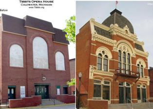 Tibbits Opera House facade-before and after restoration