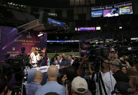 Baltimore Ravens inside linebacker Ray Lewis speaks to journalists during Media Day for the NFL's Super Bowl XLVII in New Orleans, Louisiana