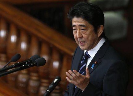 Japan's Prime Minister Shinzo Abe makes a policy speech during the start of ordinary session at the lower house of parliament in Tokyo Janua
