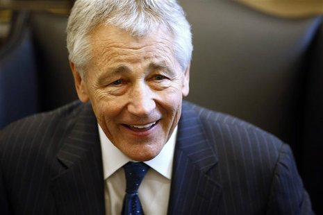 Chuck Hagel reacts during meeting on Capitol Hill in Washington in this January 23, 2013 file photo. As Hagel, President Barack Obama's nomi