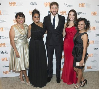 Actors (L-R) Deborah Mailman, Jessica Mauboy, Chris O'Dowd, Shari Sebbens, and Miranda Tapsell, arrives on the red carpet for the gala prese