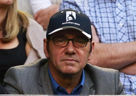 Actor Kevin Spacey attends the women's singles final match between Victoria Azarenka of Belarus and Li Na of China at the Australian Open te