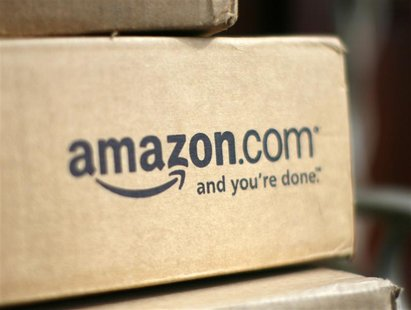A box from Amazon.com is pictured on the porch of a house in Golden, Colorado in this July 23, 2008 file photo. REUTERS/Rick Wilking/Files