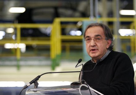 Fiat-Chrysler chief executive Sergio Marchionne makes his speech during the visit of Italy's Prime Minister Mario Monti at the Fiat car fact