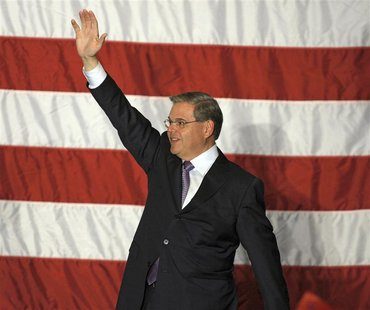 U.S. Senator Bob Menendez (D-NJ) celebrates at his campaign headquarters after he won re-election in the mid-term elections, in East Brunswi