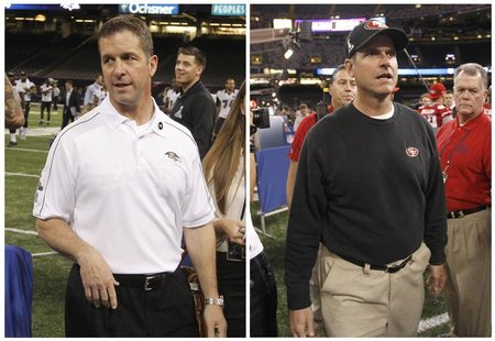 San Francisco 49ers head coach Jim Harbaugh (R) and Baltimore Ravens head coach John Harbaugh are shown in this combo photo as they arrive f