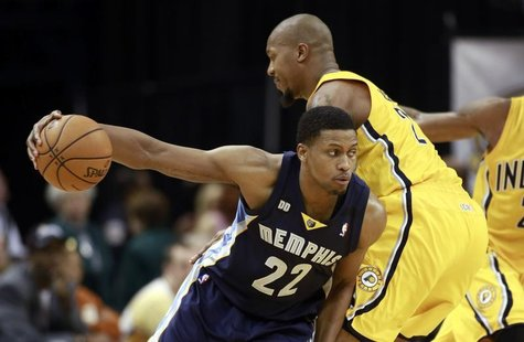 Memphis Grizzlies forward Rudy Gay drives against Indiana Pacers forward David West during the fourth quarter of their NBA basketball game i