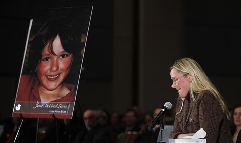 Scarlett Lewis, mother of Sandy Hook victim Jesse Lewis, speaks at a public hearing on gun control at Newtown High School in Newtown, Connec