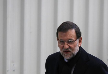 Spanish Prime Minister Mariano Rajoy arrives at Parliament to attend a government's control session in Madrid January 30, 2013. REUTER/Sergi