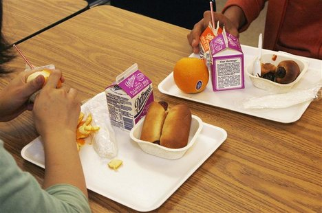 Students have a nutrition break mid-morning consisting of milk, juice, an orange and either mini sausage roll or Vegetarian Italian bagel at