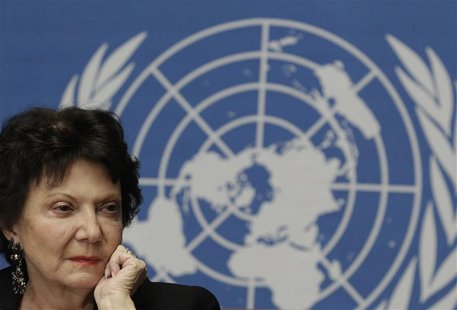Christine Chanet, Head of a United Nations human rights Inquiry Commission pauses during a news conference in Geneva January 31, 2013. REUTE