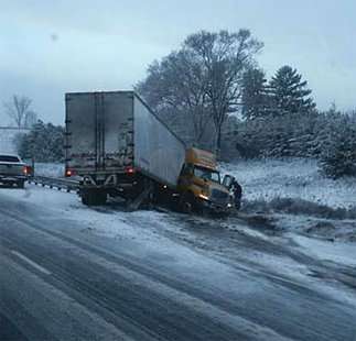 Truck crash.  Photo courtesy Iowa State University Institute for Transportation.