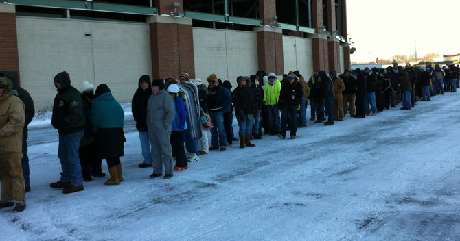 Standing in line in sub-zero temperatures outside the Lambeau Field Ticket Office on 2/1/13 for Donald Driver retirement ceremony tickets. 1,000 where available and not all in line got tickets.