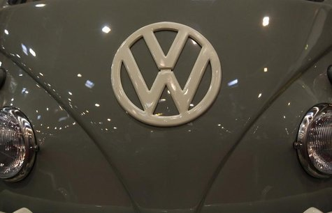 The emblem of a Volkswagen VW bus is pictured during a press presentation prior to the Essen Motor Show in Essen November 30, 2012. REUTERS/