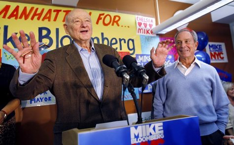 Former Mayor Ed Koch (L) introduces current Mayor Michael Bloomberg as he opens his Manhattan campaign office and kicks off his bid for re-e