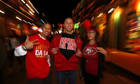 San Francisco 49ers fans celebrate on Bourbon Street in the French Quarter during Super Bowl week in New Orleans, January 31, 2013. Super Bo