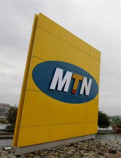 The logo of South Africa's MTN Group is seen on signage outside the company's headquarters in Johannesburg, May 27, 2008. REUTERS/Mike Hutch