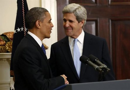 President Barack Obama (L) and Senator John Kerry (D-MA) shake hands after the president announced Kerry's nomination as Secretary of State