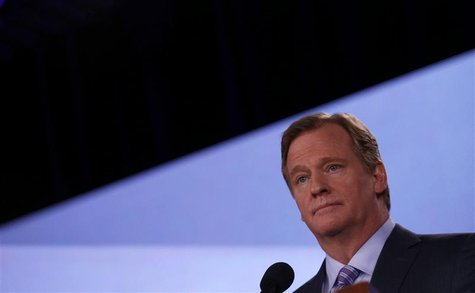 NFL Commissioner Roger Goodell listens to a question during his annual press conference ahead of the NFL's Super Bowl XLVII in New Orleans,