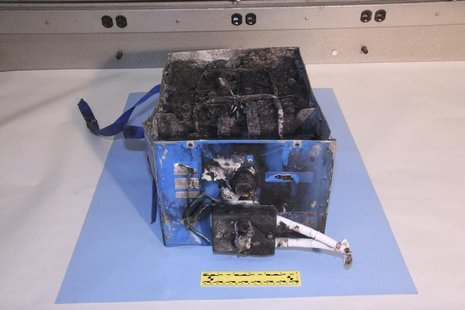 The burnt auxiliary power unit battery removed from a Japan Airlines Boeing 787 Dreamliner jet is seen in this picture provided by the U.S.
