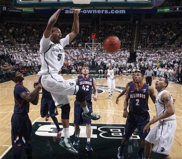 Adreian Payne with the thunder dunk, as MSU defeated Illinois 80-75