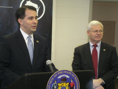 Governor Scott Walker and Wisconsin Economic Development Corporation Secretary Reed Hall