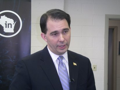 Governor Scott Walker at a Wausau press conference.