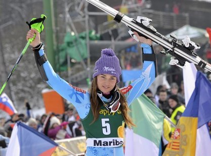 Tina Maze of Slovenia celebrates after winning the World Cup Women's Slalom race in Maribor, January 27, 2013. REUTERS/Srdjan Zivulovic