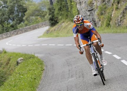 Rabobank Cycling Team rider Luis Leon Sanchez of Spain cycles in a break away during the 14th stage of the 99th Tour de France cycling race
