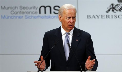 U.S. Vice-President Joe Biden gives a speech at the 49th Conference on Security Policy in Munich February 2, 2013.REUTERS/Michael Dalder