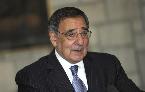 U.S. Defense Secretary Leon Panetta speaks about a suicide bombing near a NATO base, during a joint news conference with Afghan President Ha