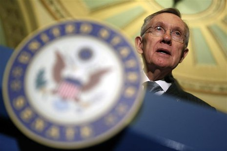 Senate Majority Leader Harry Reid speaks to reporters in the Capitol in Washington January 29, 2013. REUTERS/Kevin Lamarque