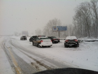 One of the multiple crashes caused by the white-out conditions.