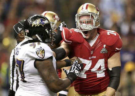 San Francisco 49ers tackle Joe Staley (74) battles Baltimore Ravens defensive end Arthur Jones (97) after the play during the first quarter