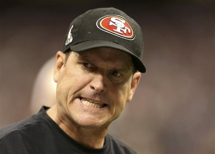 San Francisco 49ers head coach Jim Harbaugh reacts on the sidelines during the fourth quarter in the NFL Super Bowl XLVII football game agai