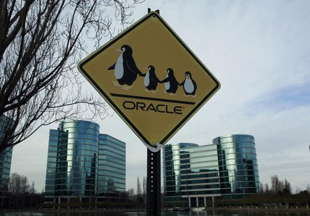A sign is shown at the headquarters of Oracle Corporation in Redwood City, California February 2, 2010. Picture taken February 2, 2010. REUT