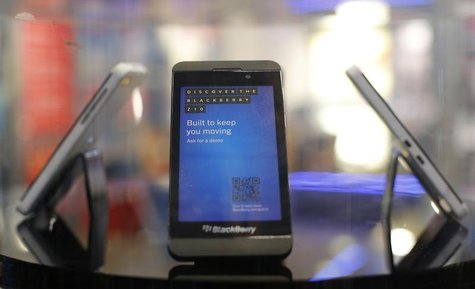A new Blackberry Z10 is displayed at a branch of UK retailer Phones 4U in central London, January 31, 2013. Blackberry's new Z10 model went