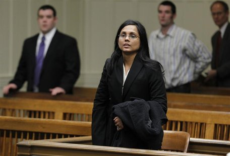 Annie Dookhan, a former chemist at the Hinton State Laboratory Institute, listens to the judge during her arraignment at Brockton Superior C