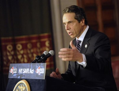 New York Governor Andrew Cuomo talks about the New York Secure Ammunition and Firearms Enforcement Act in Albany, New York January 15, 2013.