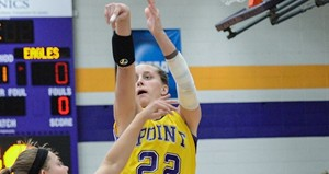 UWSP Women's Basketball at LaCrosse.  Photo courtesy UWSP Athletics Dept.